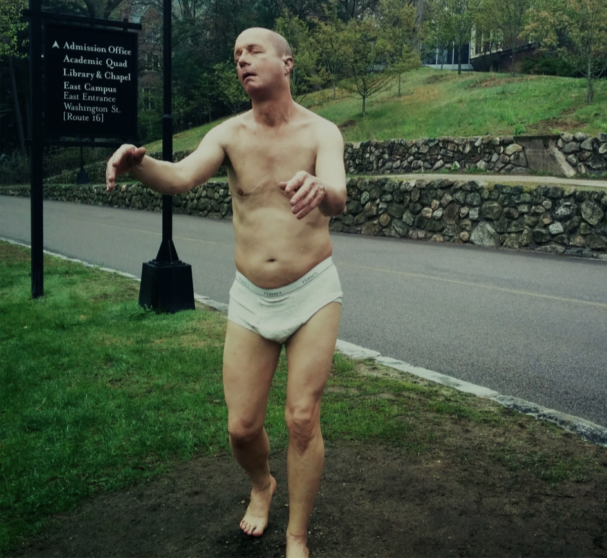 Artist Tony Matelli's Sleepwalker installation on the Wellesley College campus in Wellesley, MA. Photo credit: Megan Strait