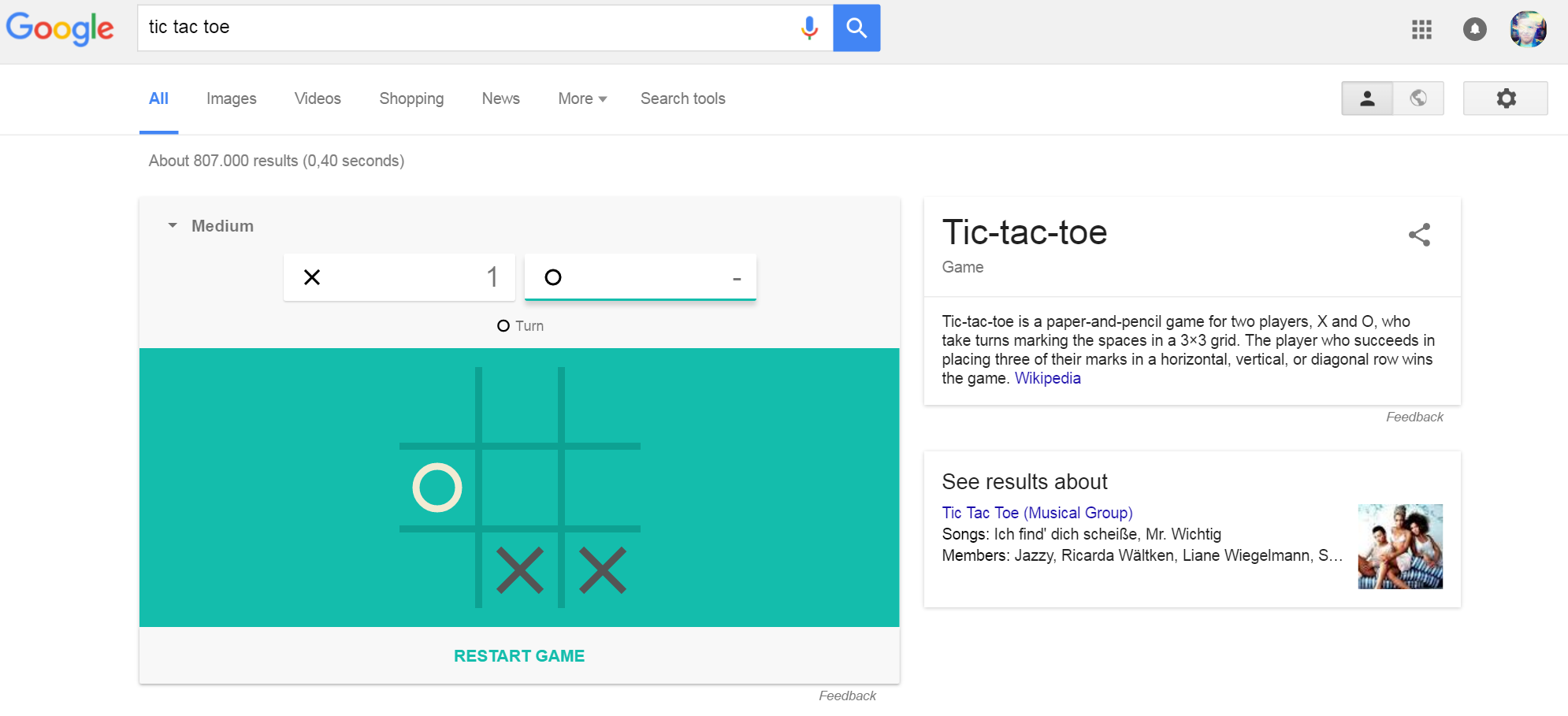 """Das Google Minispiel """"Tic Tac Toe"""""""