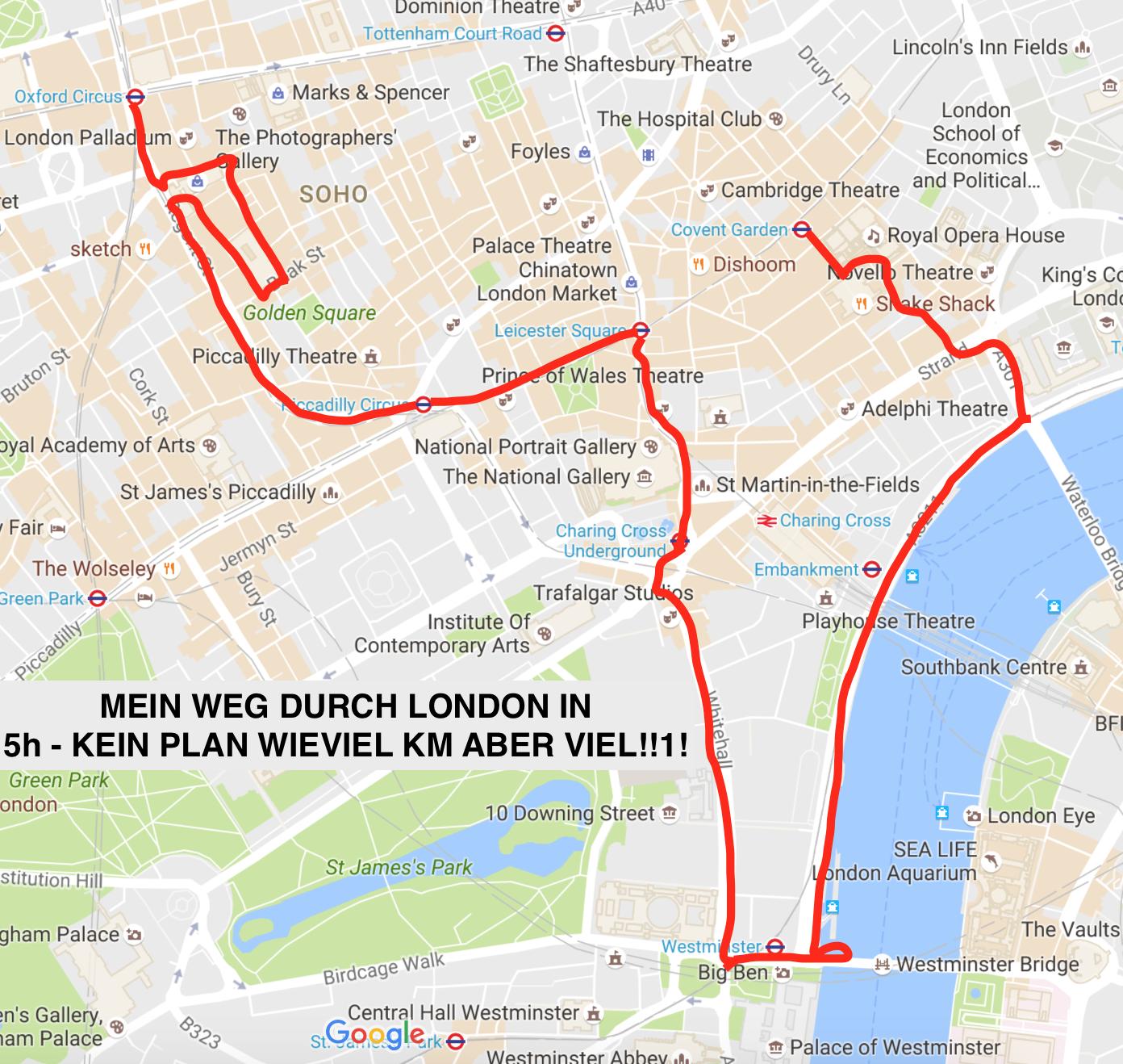 Mein (weiter) Weg durch London in 5 Stunden